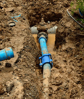 underground water main pipe work